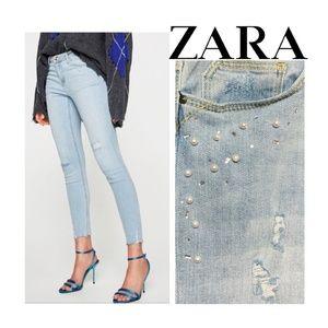 New Zara Skinny Jeans Rhinestone Pearl Raw Cut Hem